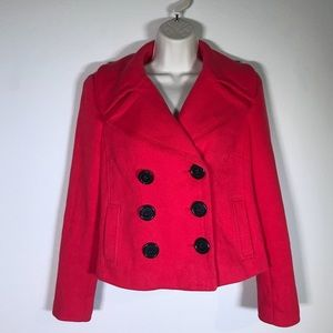 INC International concepts red cropped pea coat